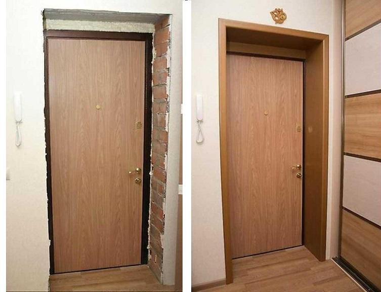 Проем входной двери до и после установки доборов