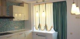 Занавески на кухне с балконом