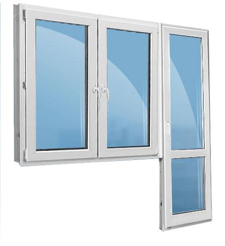 Балконная дверь с двумя окнами