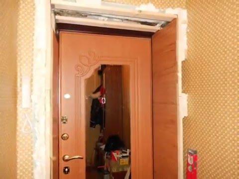 Обустройство откосов входной двери из МДФ