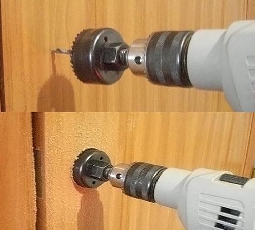 Высверливание отверстия под ручку