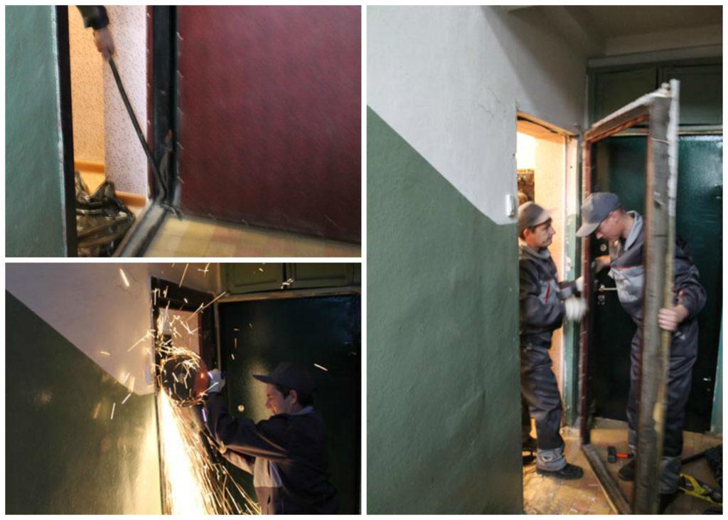Демонтаж старой железной двери