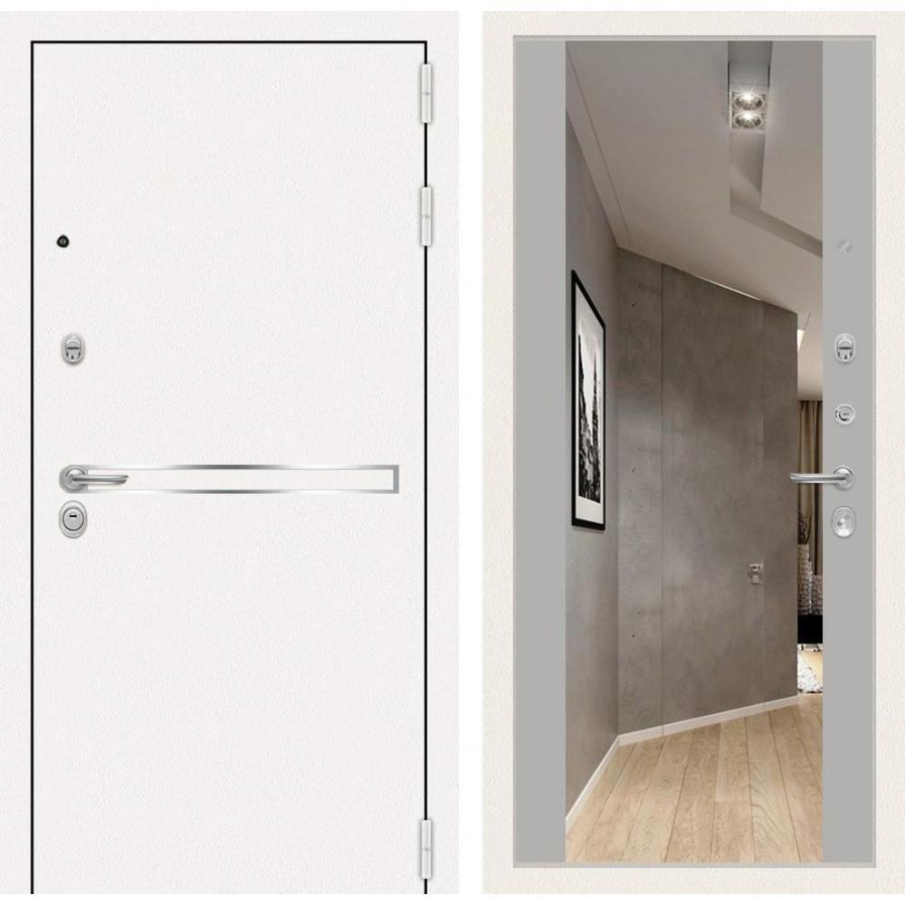 Внешний вид белой двери с зеракалом