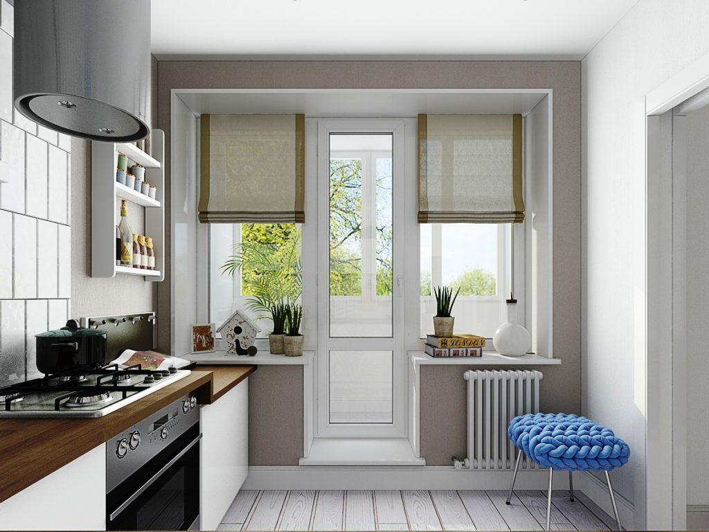 Кухонное окно с рулонными шторами