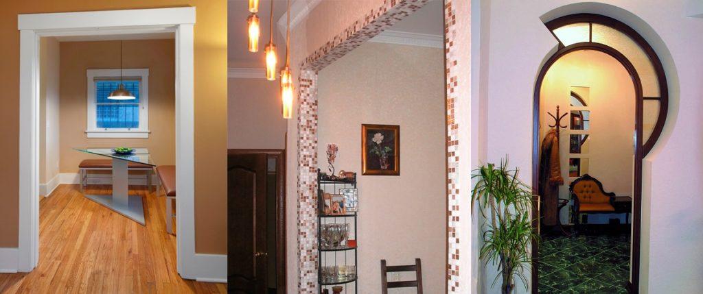 Варианты декора прохода между комнатами без дверей