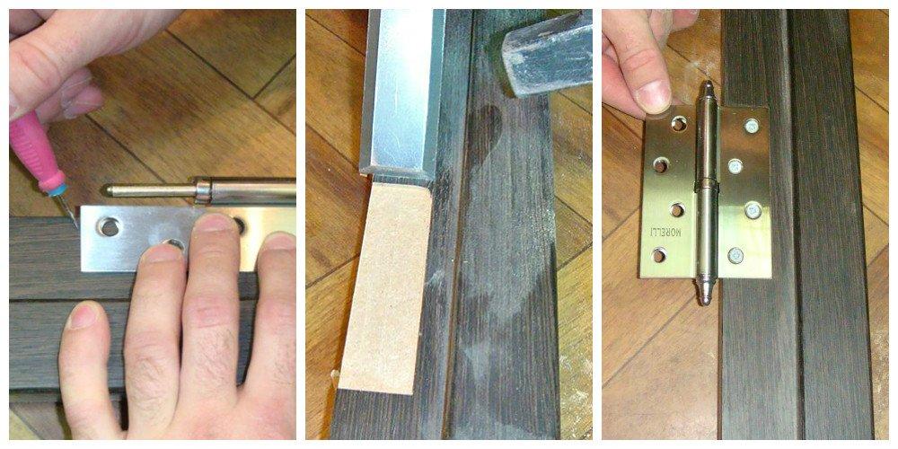 Установка петель на косяк двери