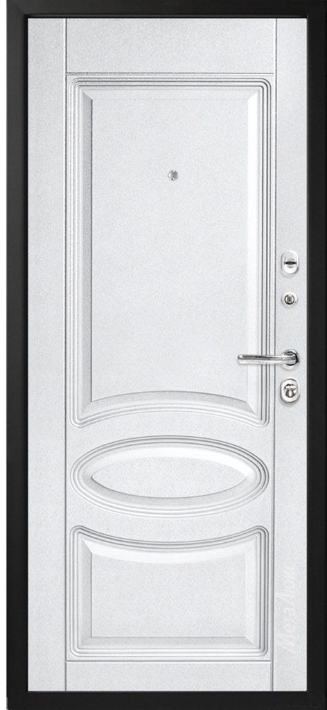Вид белой входной двери снаружи