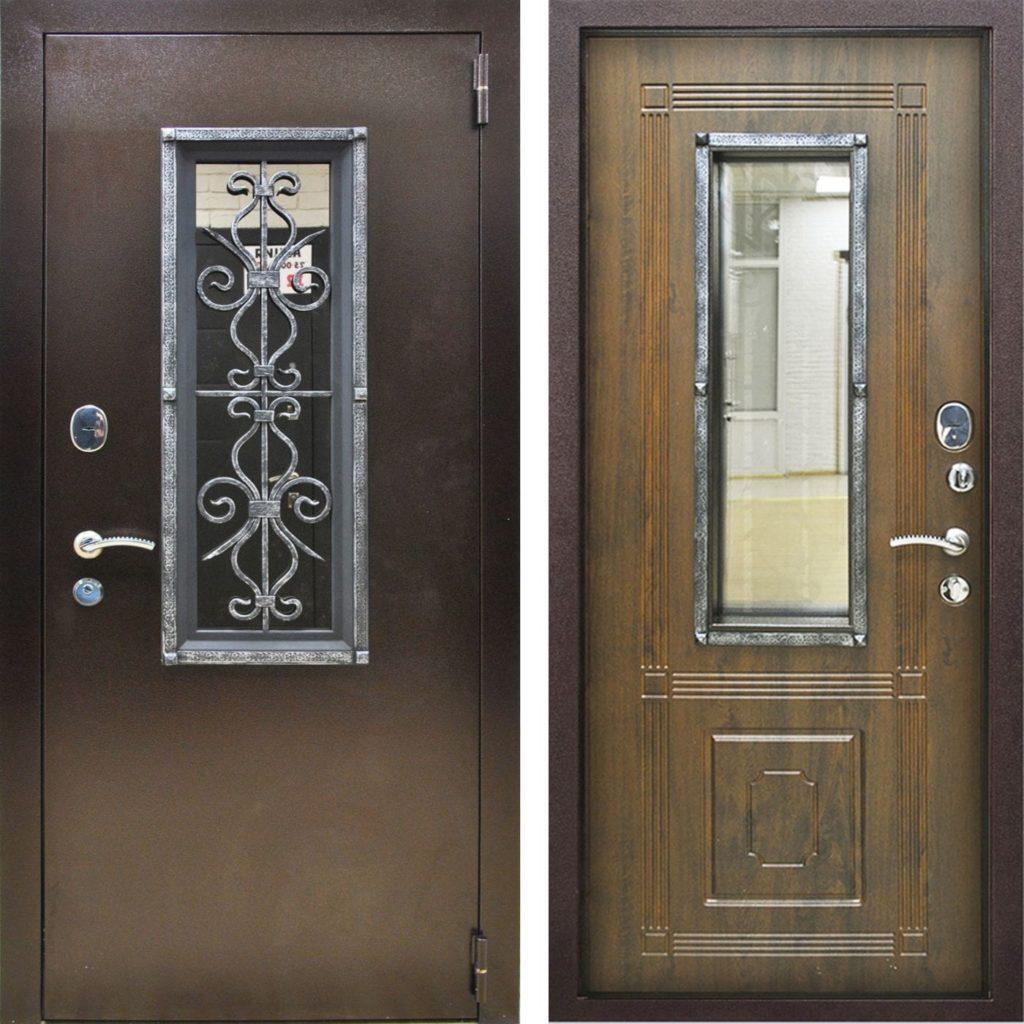 Железные двери со стеклом и ковкой