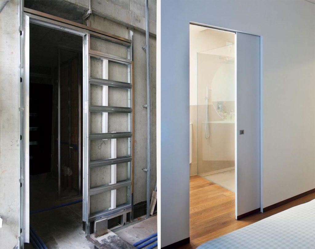 Внешняя и внутренняя часть двери-пенал