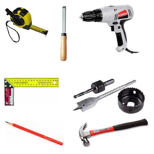 Инструменты для монтажа замка двери