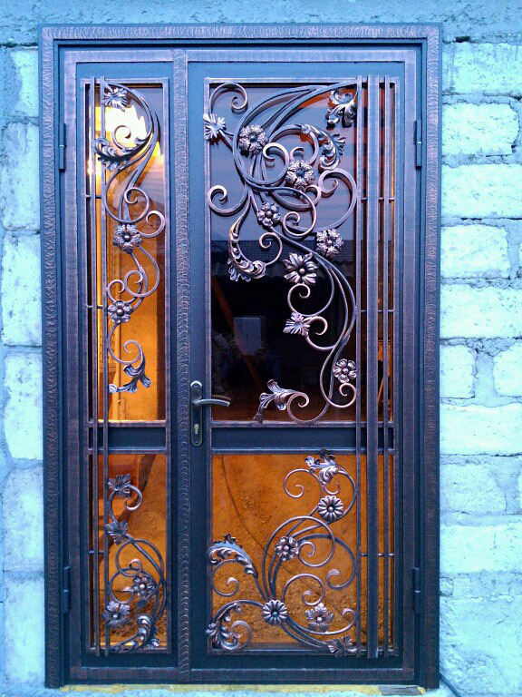 Прозрачная дверь с ковкой
