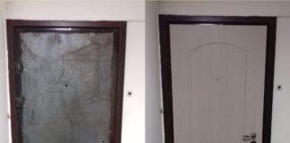 Дверь с установленной МДФ накладкой