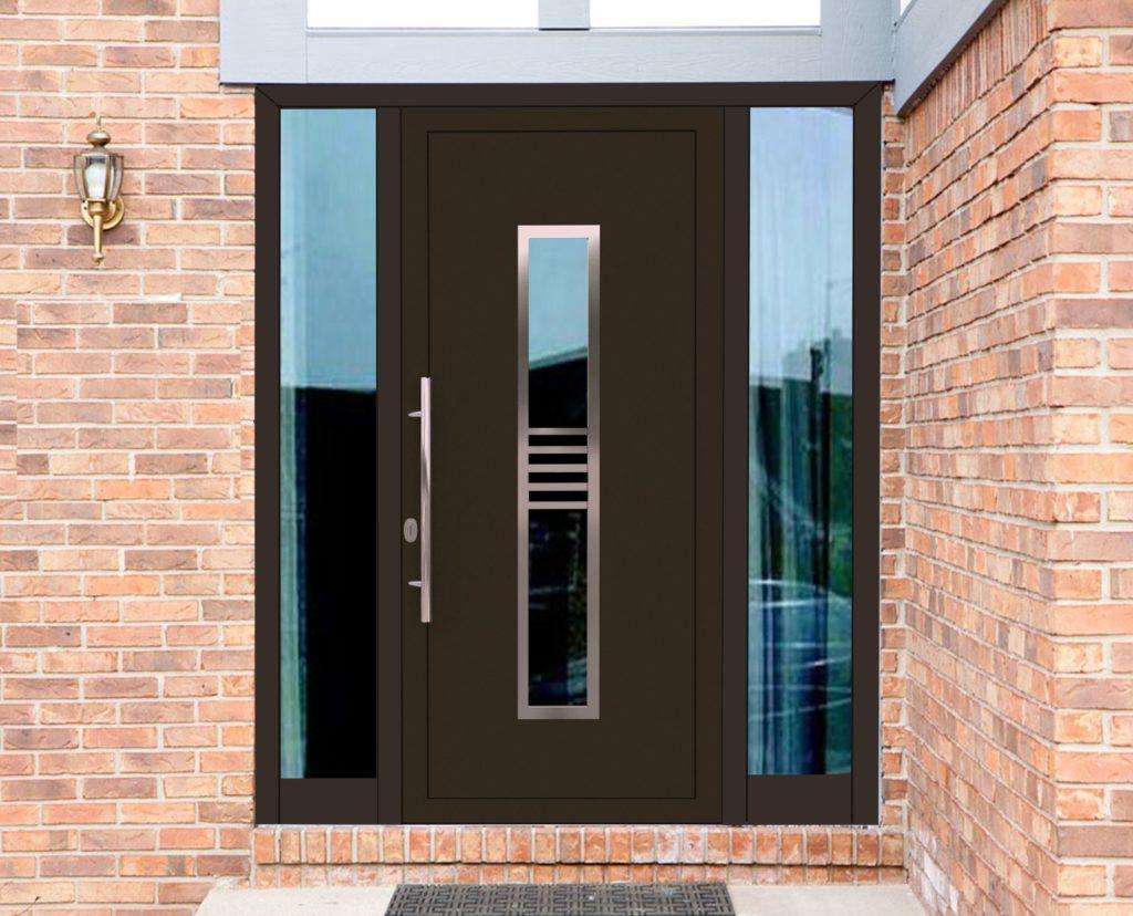 Вид входной двери со стеклом