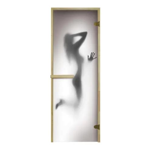 Дверь в баню с рисунком