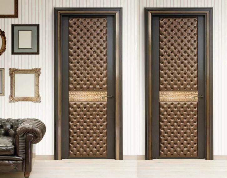 Декорирование дверей кожей