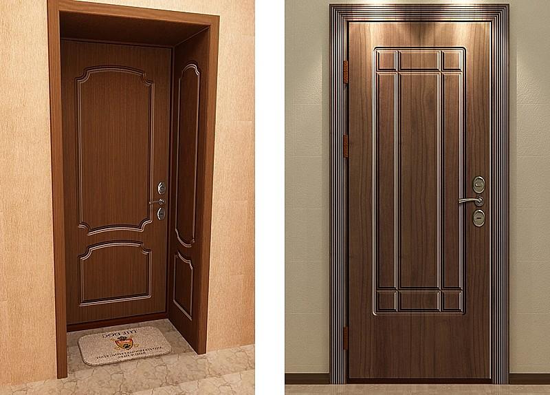 Установленные МДФ накладки на двери
